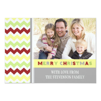 Merry Christmas Photo Card Red Green Chevron Personalized Invite