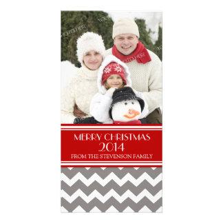 Merry Christmas Photo Card Red Grey Chevron