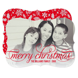 Merry Christmas Photo Card | Red Script Overlay