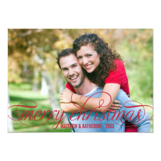 "Merry Christmas Photo Card | Red Script Overlay 5"" X 7"" Invitation Card"