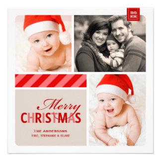 Merry Christmas Photo Card Red White Cream Invite