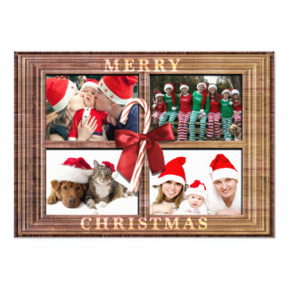 Merry Christmas Photo Card Rustic Faux Wood Frame