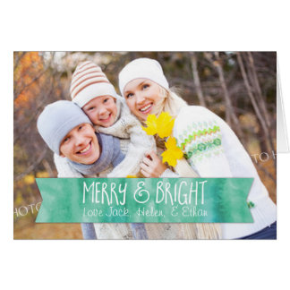 Merry Christmas Photo Card Teal Watercolor