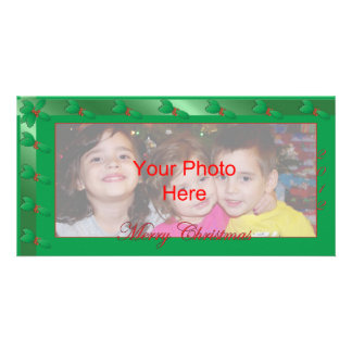 Merry Christmas Photo Card Template Green Holly