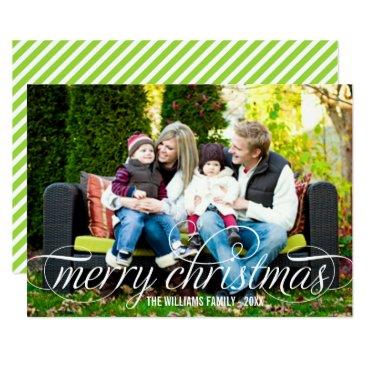 Christmas Themed Merry Christmas Photo Card   White Script Overlay