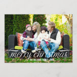 "Merry Christmas Photo Card | White Script Overlay<br><div class=""desc"">Simply chic holiday photo greeting card features &quot;Merry Christmas&quot; in a modern beautiful script with scrolling detail in white.  White and lime green diagonal stripes add interest to the back of the card - use &quot;customize it&quot; to edit the green background color.</div>"