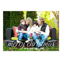 Merry Christmas Photo Card | White Script Overlay Personalized Invitation