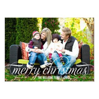 "Merry Christmas Photo Card   White Script Overlay 5"" X 7"" Invitation Card"
