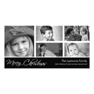 Merry Christmas Photo Card with 5 photo collage