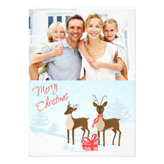Merry Christmas Photo Card with Deer Snow Gift