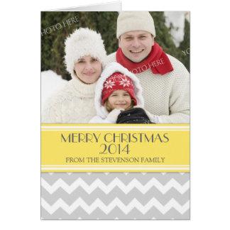 Merry Christmas Photo Card Yellow Grey Chevron
