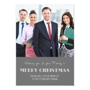 Professional Business Merry Christmas Photo Cards Grey Business