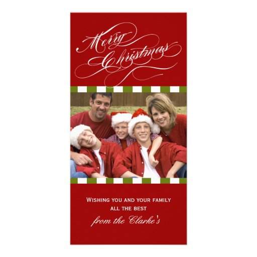 Merry Christmas Photo Cards Red Green Stripe