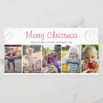 Merry Christmas Photo Collage Flat Holiday Custom