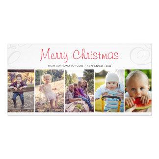 Merry Christmas Photo Collage Flat Holiday Custom Photo Card