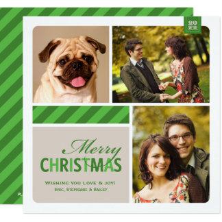 Merry Christmas Photo Collage  | Green White Cream Card