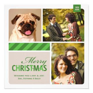 Merry Christmas Photo Collage Green White Cream Invites