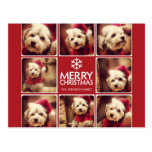 Merry Christmas Photo Collage Red White Postcard