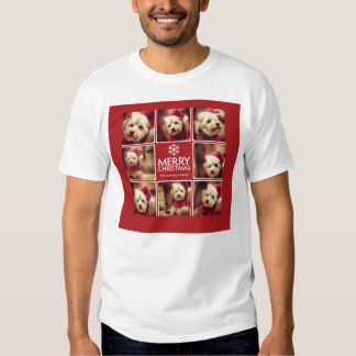 Merry Christmas Photo Collage Red White Tee Shirt