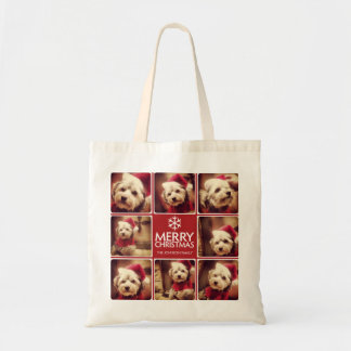 Merry Christmas Photo Collage Red White Tote Bag