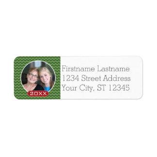 Merry Christmas Photo Custom Year - Green Red Return Address Label