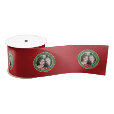 Merry Christmas Photo Custom Year - Green Red Satin Ribbon