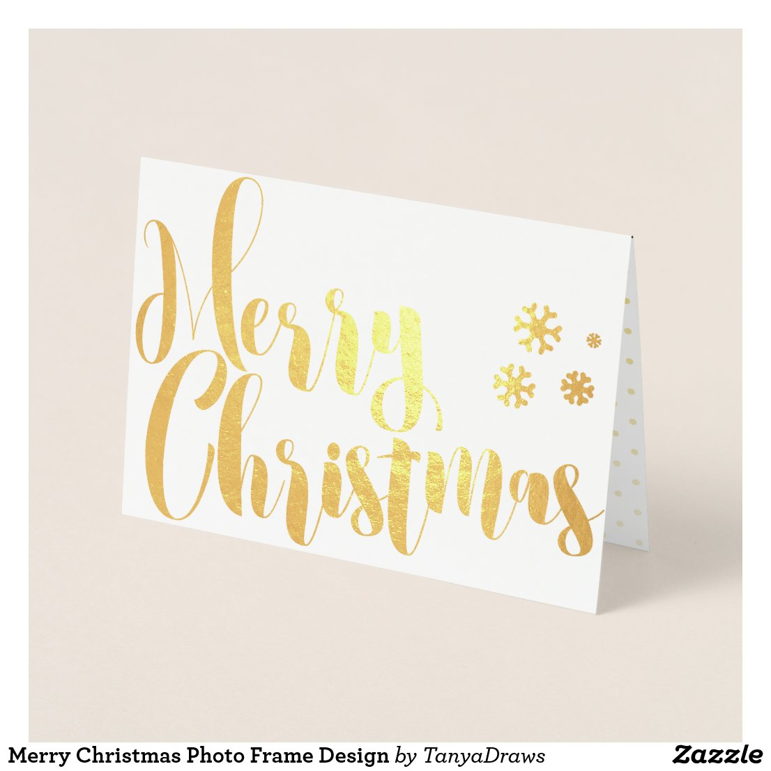 Merry Christmas Photo Frame Design Foil Card