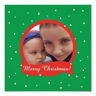 Merry Christmas Photo Frame Green Invitations