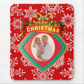 Merry Christmas Photo Frame Mouse Pad
