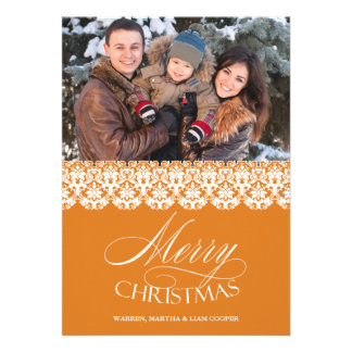Merry Christmas Photo Gold Flat Card