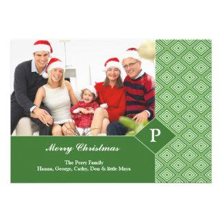 Merry Christmas Photo Green Flat Card