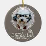 Merry Christmas - Photo Greeting Card Template Ceramic Ornament