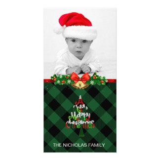Merry Christmas Photo Holiday Green Buffalo Plaid Card