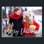 "Merry Christmas Photo Modern Brush Script Postcard<br><div class=""desc"">Modern Brush Script Merry Christmas Photo Postcard</div>"
