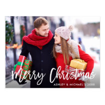 Merry Christmas Photo Modern Brush Script Postcard