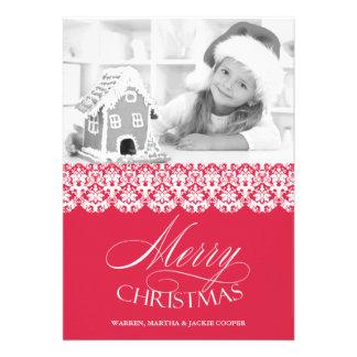 Merry Christmas Photo Pink Flat Card