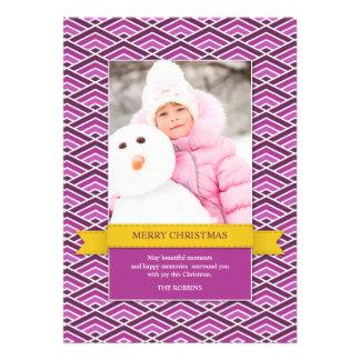 Merry Christmas Photo Purple Flat Card