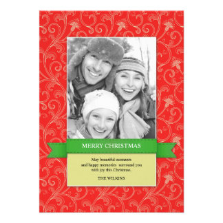 Merry Christmas Photo Red Flat Card