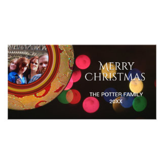 Merry Christmas Photo Red Gold Green Blue Bokeh Card