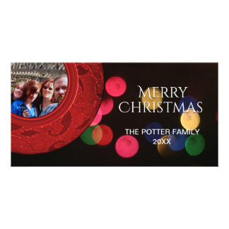 Merry Christmas Photo Red Green Blue Gold Bokeh Card
