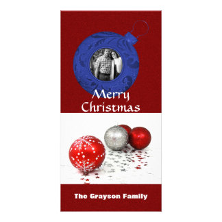 Merry Christmas Photo Red White Blue Glitter Card