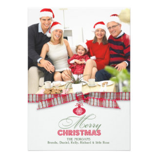 Merry Christmas Photo Ribbon Flat Card