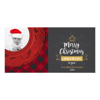 Merry Christmas Photo Rustic Chalk Buffalo Plaid Card