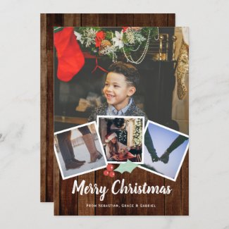 Merry Christmas Photo Rustic Holly And Wood Holiday Card