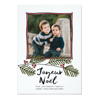 Merry Christmas Photo with Pine Tree Branches 5x7 Paper Invitation Card