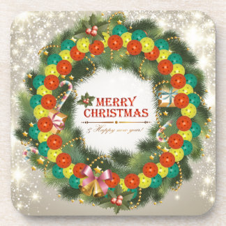 Merry Christmas Pickleball 1 Coaster