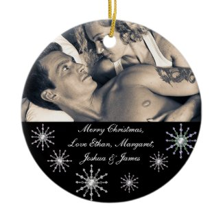 Merry Christmas Picture Snowflakes ornament