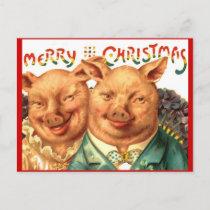Merry Christmas Pig Couple Vintage Postcard Art