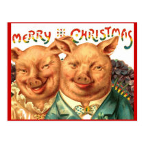 Merry Christmas Pig Couple Vintage Postcard Art