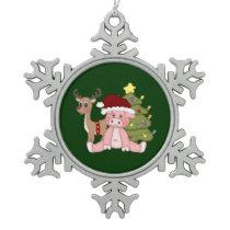 Merry Christmas Pig Snowflake Pewter Christmas Ornament